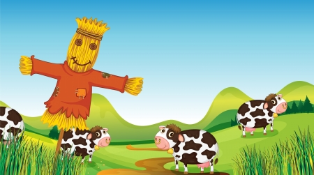 Illustration of a scarecrow and cows Stock Vector - 17410906