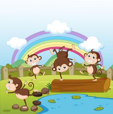 Illustration of monkeys and a rainbow in a beautiful nature Vector