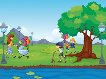cartoon grass: Illustration of kids and a water Illustration