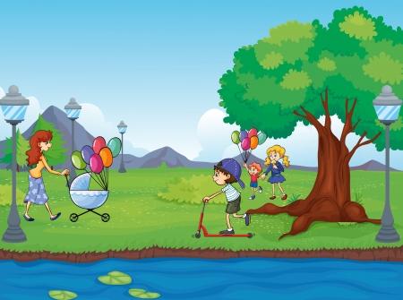 ciclo del agua: Ilustración de los niños y el agua un Vectores
