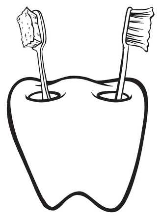 teeth cleaning: Illustration of a tooth-shaped toothbrush holder on a white background