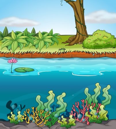 Illustration of a river in a beautiful nature Vector