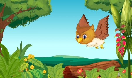 clearing: Illustration of a bird flying in the forest Illustration