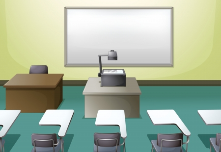 hall: Illustration of a  college classroom