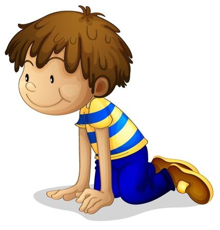 arrodillarse: Ilustraci�n de un muchacho de rodillas sobre un fondo blanco