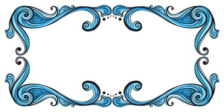 margen: Ilustración de una frontera azul sobre un fondo blanco