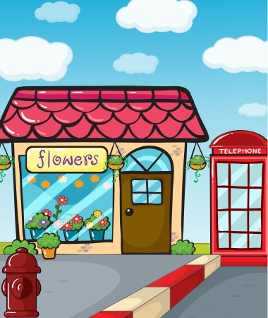 Illustration of a flower shop, a fire hydrant and a telephone Vector