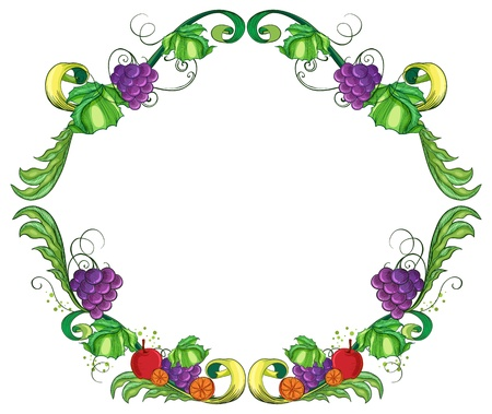 picure: Illustration of a border made of vine fruits on a white background Illustration