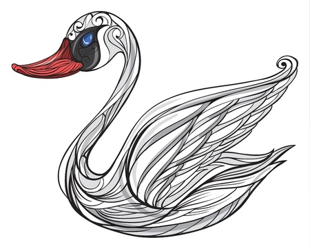 alone and sad: Illustration of a swan on a white background