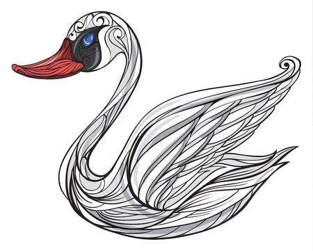 alone and sad: Ilustraci�n de un cisne en un fondo blanco Vectores