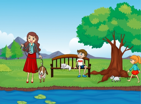 sitting in the bench: Illustration of kids and animals in a beautiful nature