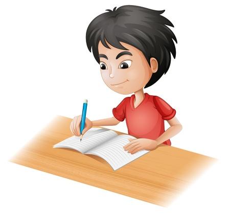 niños escribiendo: Ilustración de un niño de dibujo sobre un fondo blanco