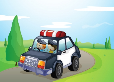 illustration of a car and smiling kids in a beautiful nature