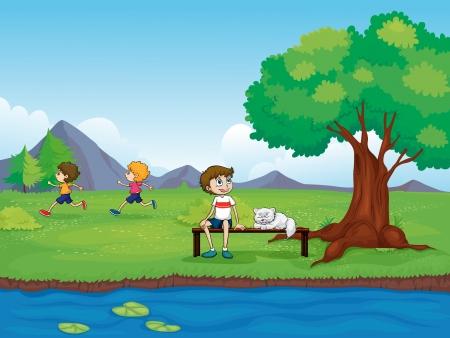 Illustration des enfants dans une belle nature Illustration