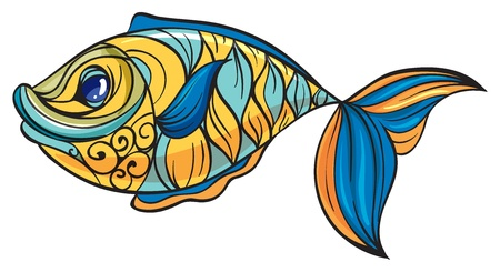 lateral eyes: Illustration of a colorful fish on a white background