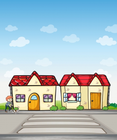 Illustration of a boy with a dog and houses Vector