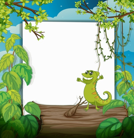 zoo dry: Illustration of a dacing chameleon and a white board in a beautiful nature Illustration