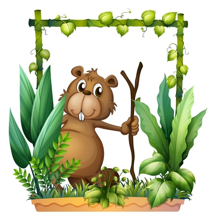 Illustration of a beaver holding a wood on a white background Vector