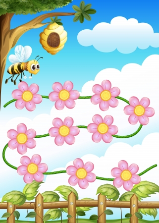 bee on white flower: Illustration of a bee and flowers Illustration