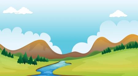 paysage dessin anim�: Illustration d'une rivi�re et un magnifique paysage