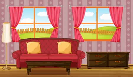 living room window: Illustration of a red sofa and side table in a room
