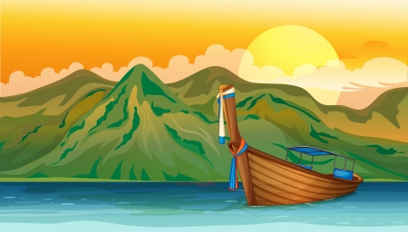 coastal: Illustration of a boat floating in the sea