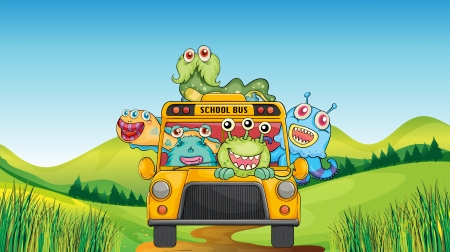 monstrous: illustration of smiling monsters and school bus