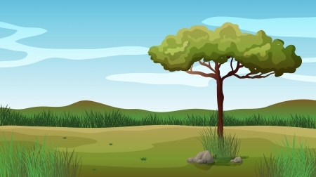 desolate: Illustration of a tree and a beautiful landscape