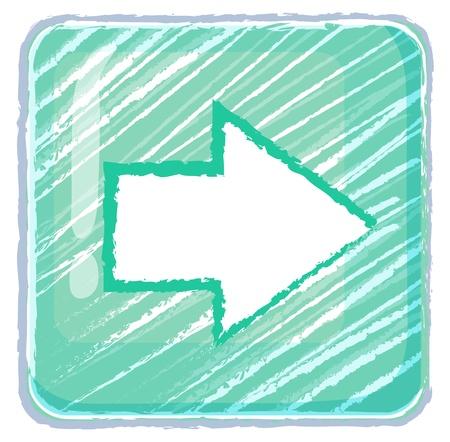 Illustratie van een volgende knop icoon tekening op een witte achtergrond Vector Illustratie