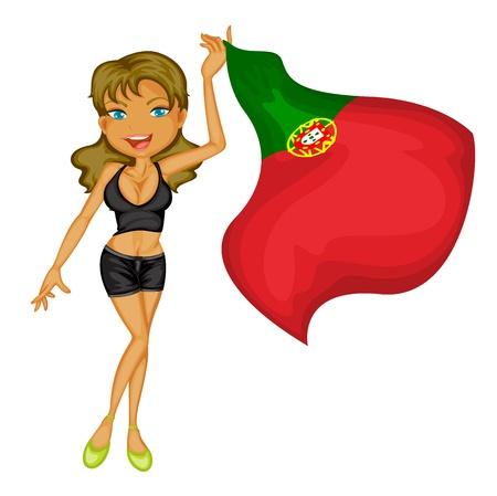 drapeau portugal: Illustration d'une jeune fille souriante avec un drapeau national du Portugal sur un fond blanc Illustration