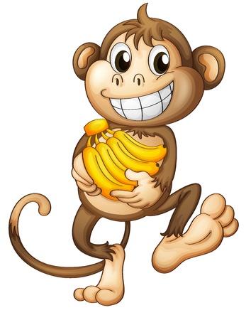 Ilustración de un mono feliz con los plátanos en un fondo blanco
