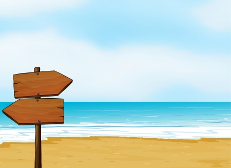 beach scene: Illustration of a notice board on a beach