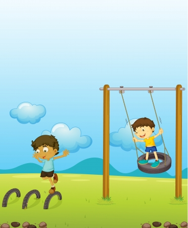 Illustration of kids playing swing Vector