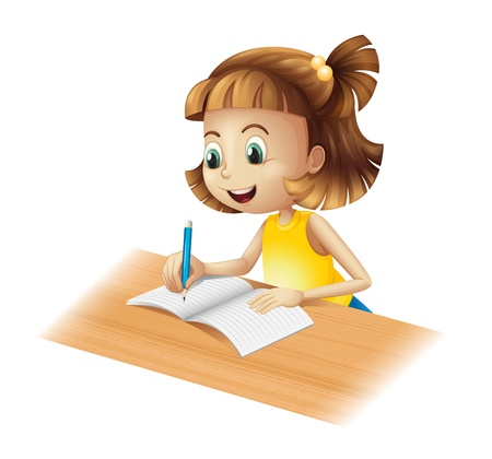 yellow notebook: Illustration of a happy girl writing on a white background