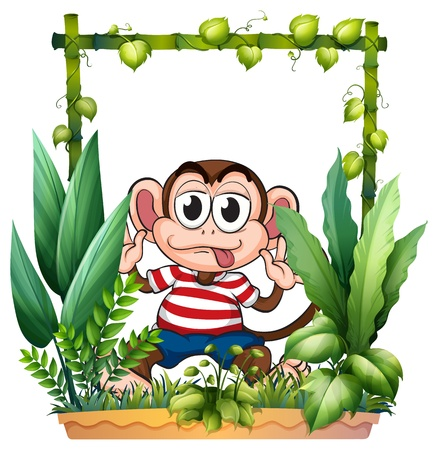 Illustration of a monkey wearing a stripe shirt on a white background Stock Vector - 17443665