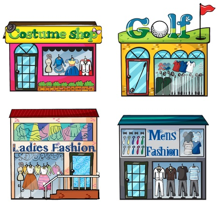 establishments: Illustration of a set of shops