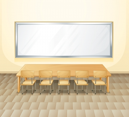 conference room table: Illustration of an empty meeting room