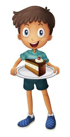 porcion de torta: Ilustraci�n de un muchacho sonriente con la torta en un fondo blanco