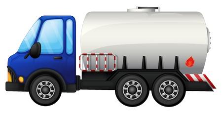 camion caricatura: Ilustraci�n de un coche de combustible en un fondo blanco