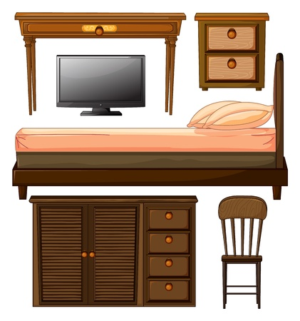 Illustration of various furnitures and lcd television on a white background Vector