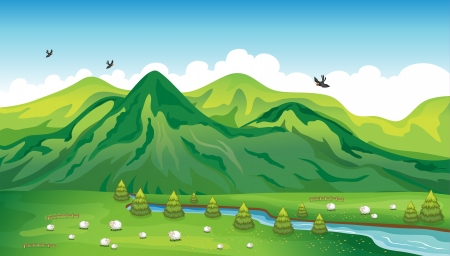 Illustration of sheeps, birds and a beautiful landscape Vector