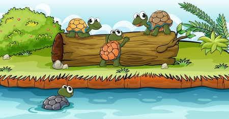 river bank: Illustration of turtles on a dry wood in a beautiful nature