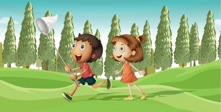 full pant: Illustration of a running boy and a girl with net