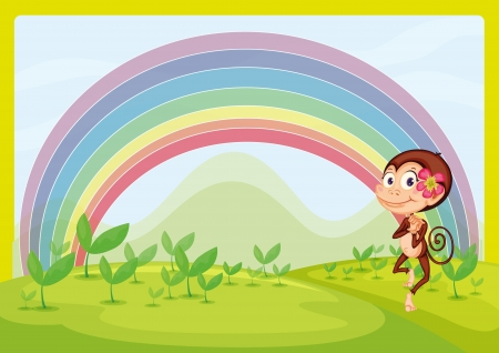 Illustration of a smiling monkey and a rainbow in a beautiful nature Vector
