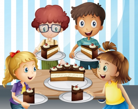 kids eating: Illustration of a smiling kids and cake in a room