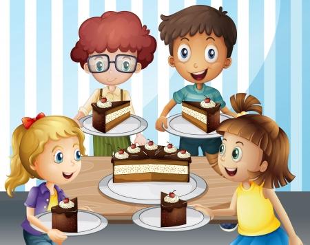 familia comiendo: Ilustraci�n de una torta de ni�os sonrientes y en habitaci�n doble