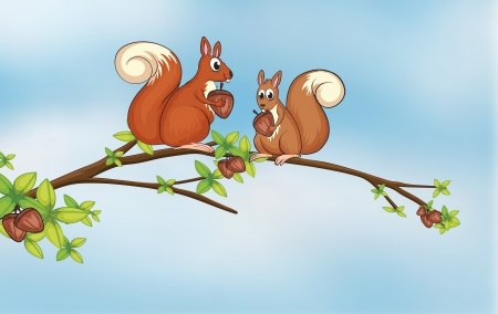 Illustration of squirrels sitting on a branch Stock Vector - 17442951