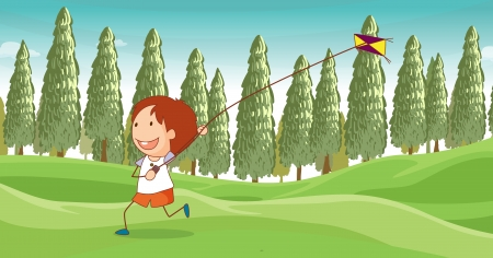 Illustration of a boy playing a kite Stock Vector - 17442965