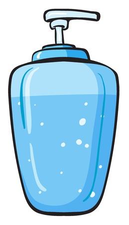 jabon liquido: Ilustración de un recipiente de jabón líquido en un fondo blanco