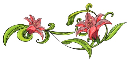 Illustration of a vine flower border on a white background Vector